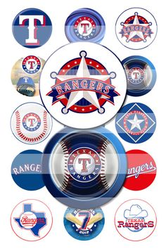SPECIAL Texas Rangers Baseball 1 Inch Round Digital Image Collage Sheet for Making Bottle Cap Pendants, Hair Bows & MORE