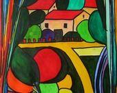 """aquarelle"""" la maison près de la rivière.."""" : Peintures par danyrocherleroi"""