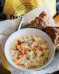 Amanda Johnson uses leftover chicken or turkey, and wild rice harvested nearby, to make this lovely soup.Slideshow: More Chicken Soup Recipes Chicken Wild Rice Soup, Chicken Soup Recipes, Rice Recipes, Cooking Recipes, Recipe Chicken, Chicken Soups, Creamy Chicken, Rotisserie Chicken, Healthy Recipes