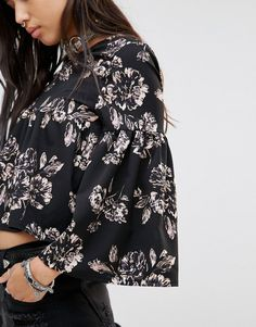 Image 3 ofMilk It Vintage Relaxed Angel Sleeve Top In Sparse Floral