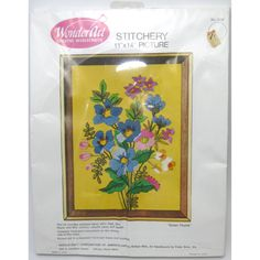 "Green Thumb Crewel Stitchery Kit 11""x14"" Harvest Gold Wonder Art Vtg MCM #WonderArt"