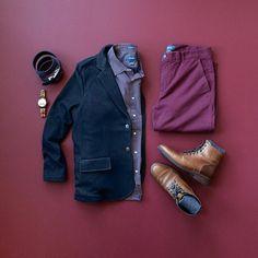 Classy attire for Sunday's Best #menswear #mensfashion #burgundy #blazer