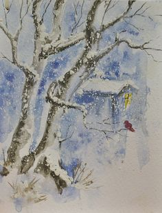 Somewhere in snow Drifts - Winter scenes watercolors painting