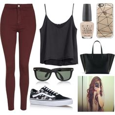 625 || SIMPLE OUTFIT by itsmy123 on Polyvore featuring moda, H&M, Topshop, Vans, Ray-Ban, Casetify and OPI