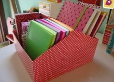 How to Turn shoe box into organizer -DIY File Organier from Shoe Box Diy Box Organizer, File Organiser, Basket Organization, Organization Hacks, Diy Upcycled Shoes, How To Make Box, Diy Cardboard, Craft Storage, Getting Organized