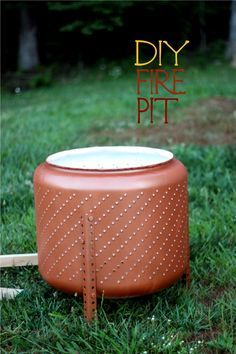 Reuse for yard: Grab an old washing machine drum before it hits the landfill and convert it to a portable firepit!