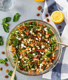Moroccan Chickpea Salad with Carrots, Quinoa, and Feta. A bright, filling, healthy salad filled with Moroccan spices and fresh ingredients. Get the recipe here! Moroccan Chickpea Salad, Moroccan Salad, Moroccan Dishes, Moroccan Spices, Moroccan Recipes, Morrocan Food, Chickpea Salad Recipes, Healthy Salad Recipes, Quinoa Salad