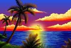 full Diamond Embroidery DIY Cross Stitch Sunrise beach coconut Diamond Painting rhinestones of picture by numbers mosaic kits Waterfall Scenery, Hd Nature Wallpapers, Painting Wallpaper, Tropical Art, Tropical Paradise, Beautiful Sunrise, Nature Paintings, Beach Art, Oeuvre D'art