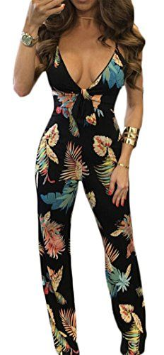 a3467761867b Fashion Leaf Print Summer Deep V Neck Jumpsuit Women Sexy Spaghetti Strap  Backless Rompers Overalls Casual Beach Long Pants