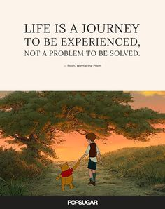"""Life is a journey to be experienced, not a problem to be solved."" 