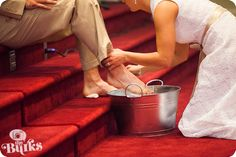 Personal and sweet idea to wash each other's feet during wedding ceremony <3