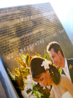 Your wedding photo & lyrics to your song on canvas.
