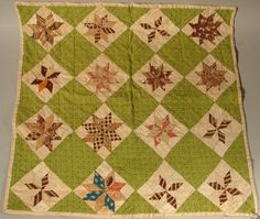 "Antique Handsewn Doll Bed Quilt. 15 1/2"" square, TW Conroy, LLC, Live Auctioneers"