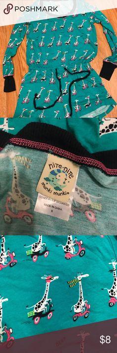 One Piece Pajama Set Light blue giraffe print pajama onesie  -Long sleeved top -Shorts -Ties around center  -Purchased from Target Nite-Nite Munki Munki Intimates & Sleepwear Pajamas