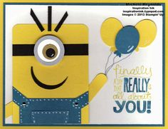 Handmade birthday card featuring Stampin' Up! Really Good Greetings Set and punch art minion and punch art balloons.