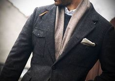 Men's country x military tweed jacket in grey #fallfashion #fbloggers