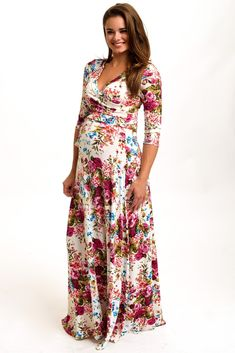 Ivory-Floral-Draped-3/4-Sleeve-Maternity-Maxi-Dress