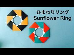 ハロウィンやクリスマスに!折り紙でひまわりリング Origami Sunflower Ring - YouTube