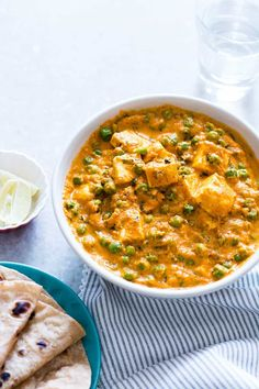 creamy matar paneer curry recipe is easy, one pot, home style and ready in under 30 mins. Gluten free, and can be made vegan by swapping paneer (cottage cheese) for tofu and yogurt for coconut milk in the recipe. Serve with rice and chapatis. Vegan Recipes Videos, Indian Food Recipes, Cooking Recipes, Ethnic Recipes, Free Recipes, Vegetarian Curry, Vegetarian Recipes, Healthy Recipes, Healthy Dishes