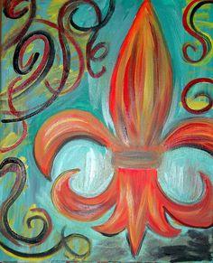 Fleur de Lis  Commission to Paint 16x20 Original by karencollins78, $60.00