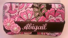 Pink and Brown Decorated Diaper Wipes Case with Baby's Name - pinned by pin4etsy.com