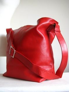 Red Leather Messenger Hanbag Bag by TheLeatherStore on Etsy, $140.00
