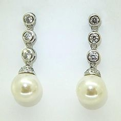 The 'Pearl and Diamond' Earrings Heavenly Necklaces - Faux Diamonds - Real Gemstones - Jewellery