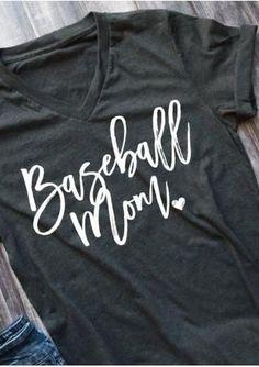 Baseball Mom V-Neck T-Shirt