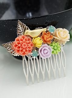 bird & bloom comb - loving these colors together!