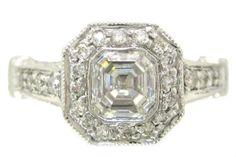 14k white gold asscher cut bezel set diamond engagement by KNRINC, $3,990.00