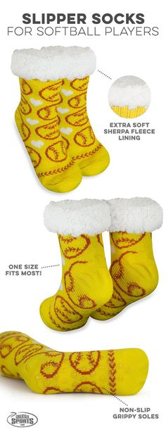 Punxsutawney Phil may have predicted an early spring, but that doesn't mean the cold is going anywhere anytime soon! So cozy up in our sherpa lined slipper socks to keep cozy for the rest of the winter while showing of your love for the game! Softball Team Gifts, Softball Socks, Softball Crafts, Softball Quotes, Softball Shirts, Softball Players, Girls Softball, Fastpitch Softball, Softball Stuff