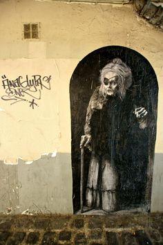 Big Fish street art. Helena Bonham Carter