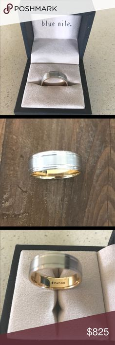 NIB BLUE NILE MEN'S WEDDING RING PLATINUM New in box. Never worn! Brushed Inlay Wedding Ring in Platinum and 18K Yellow Gold (7mm). Size 12. Blue Nile Jewelry Rings