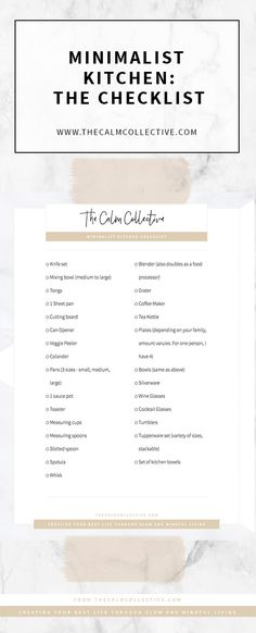 The Perfect Checklist For Your Minimalist Kitchen - The Calm Collective