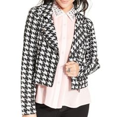 Material girl houndstooth jacket size M NWT. Gray and black houndstooth print. Shoulder pads. 18.5 inches shoulder to hem. Arm inseam 19 inches. Material Girl Jackets & Coats