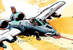 Military Airplane Pop art illustration print of an A-10 Thunderbolt II Warthog fighter plane 24x36.. $150.00, via Etsy.