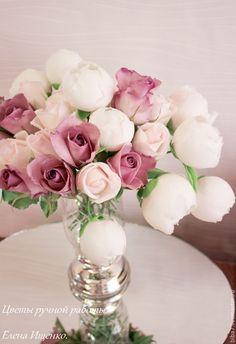 Купить Букет цветов из полимерной глины. luxury. Керамическая флористика - разноцветный, розовый, сиреневый, белый