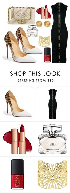 """""""Untitled #97"""" by cas199 ❤ liked on Polyvore featuring Christian Louboutin, Balmain, Chanel, Gucci, NARS Cosmetics, Vélizance and Versace"""