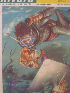 Scuba Diving Kid decor 1960s illustration by SomeVintagePapers, $12.00