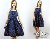 Lanz Sundress Lanz Dress Vintage Sundress Summer Dress Floral Dress Navy Dress Vintage 70s Lanz Navy Floral Sun Dress XS S