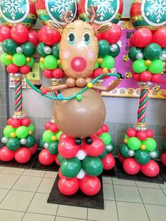 Rudolf the rednose reindeer. Holiday Party Games, Christmas Party Decorations, Holiday Fun, Balloon Decorations Without Helium, Balloon Ideas, Christmas Events, Christmas Crafts, Reindeer Christmas, Balloon Pillars