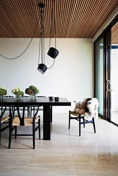 No caption necessary. Wishbone chairs in Black with Natural papercord seat, oh and the softest looking sheepskin ever! http://www.lekkerhome.com/ch24-wishbone-chair-%7C-2015-limited-edition/dp/16922#.VMpENXDF87M