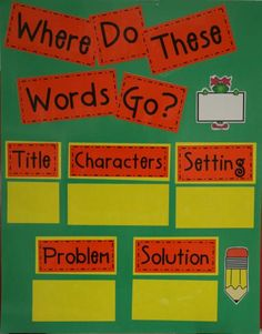 Word sort activity for story elements.