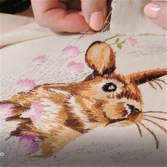 DIY, embroidery, вышивка зайца, вышивка гладью
