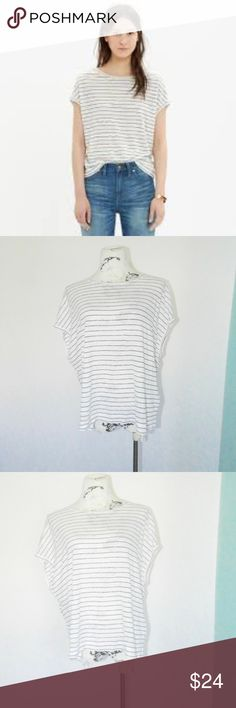 8c3314d9530 Madewell Linen Striped Miracle Tee Top Blouse L