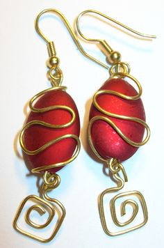 handmade wire-wrapped earrings