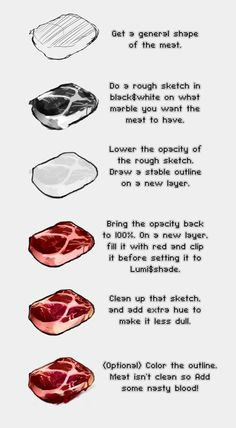 Ideas Meat Drawing Tutorial For 2019 Digital Painting Tutorials, Digital Art Tutorial, Art Tutorials, Meat Drawing, Food Drawing, Drawing Reference Poses, Drawing Tips, Meat Art, Blood Art