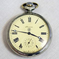 """Vintage Mechanical Pocket Watch """"MOLNIJA"""" - Wolf / Wolves in the Forest - Working - from Russia / Soviet Union / USSR"""