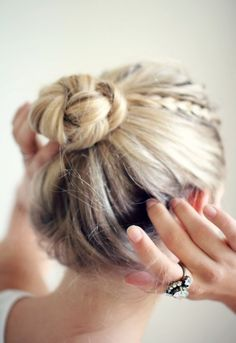 blonde braided top knot - alone-in-the-ocean