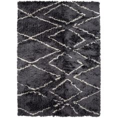 Surya Home 'Scout Lines' Rug featuring polyvore, home, rugs, charcoal, polyester rugs, dark grey shag rug, shag rug, dark gray rug and textured rug